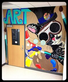 """Steampunk Kitty Found the Art Room"" Classroom Mural 2013/2014"