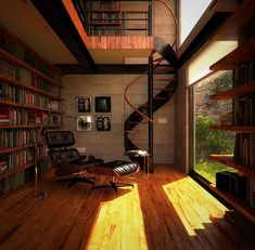Hundreds of books, a spiral staircase, and a huge window? I'd never leave that comfy looking chair...