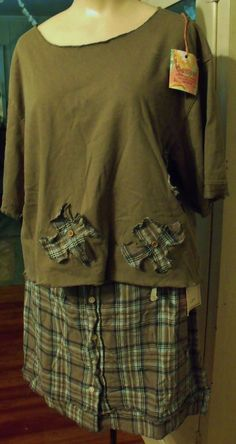 Man's Shirt Skirt and Refashioned Tee