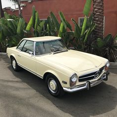 Begin your week with a smooth ride in this sleek and exquisite Pagoda! 1970 Mercedes-Benz California Special Light Ivory with Parchment Interior DM us your name and email address for pricing and more information Mercedez Benz, Classic Mercedes, Email Address, Smooth, Ivory, California, Cars, Interior, Indoor