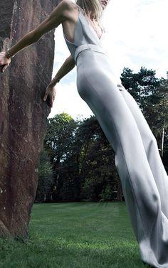Satin Plunge Neck Jumpsuit by GALVAN for Preorder on Moda Operandi