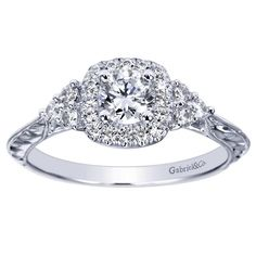Gabriel 14K White Gold Pre-Set Diamond Halo Engagement Ring with Hand Engraved Details Featuring 0.59 Carats of Round Cut Diamonds - Style ER98660W44JJ