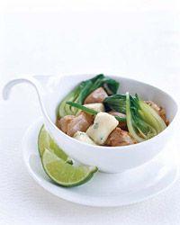 Thai Chicken Stew with Potato-Chive Dumplings Recipe on Food & Wine Chef Way Pino Maffeo serves his vibrant, spicy, warming stew with gai lan (Chinese broccoli). Sautéed garlic chives stud his plump potato dumplings.