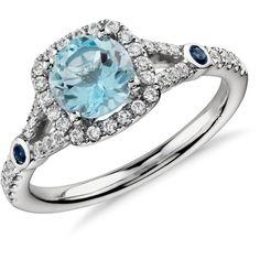 Blue Nile Aquamarine and Diamond Split Shank Halo Ring ($1,060) ❤ liked on Polyvore featuring jewelry, rings, bague, diamond jewellery, blue nile rings, aquamarine diamond ring, 14k jewelry and aquamarine jewelry