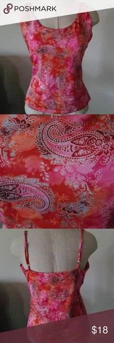 "Cabernet Pink Paisley Print Silky Camisole Size L Adjustable straps with shelf bra. Petite fit. Flat across chest 16"" measures along side under arm to hem 13"". Find the perfect jeans in my closet! Cabernet Tops Camisoles"