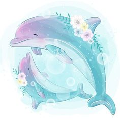 Cute dolphin mother and baby Dolphin Drawing, Dolphin Art, Watercolor Clouds, Watercolor Effects, Flower Watercolor, Watercolor Background, Baby Animal Drawings, Cute Drawings, Cartoon Mignon