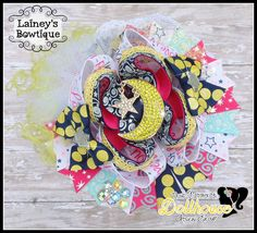 """""""Love You to the Moon and Back"""" OTT OOAK Hair Bow Just Sayin' An Auction Style Event Opens 3/3/15 at 5 PM CST Closes at 3/5/15 at 9 PM CST Purchase Here: www.facebook.com/dollhousedesigngroup"""