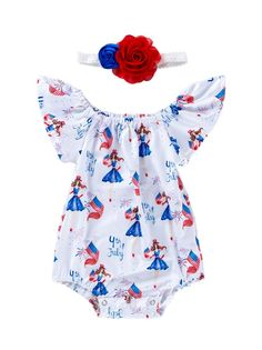 CQueen Newborn Infant Toddler Sunsuit Romper Baby Kids Stars Striped 4th of July Romper Tulle Dress Outfits
