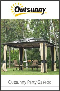 Outdoor Patio Canopy Party Gazebo Shelter Hardtop W/ Mesh And Curtains Wooden Pergola, Pergola Patio, Pergola Plans, Backyard, Pergola Shade, Patio Roof, Metal Pergola, Pergola Kits, Hot Tub Gazebo