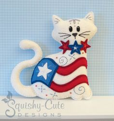 Cat Stuffed Animal Pattern - Felt Plushie Sewing Pattern & Tutorial - Old Glory the 4th of July Cat - Patriotic Embroidery Pattern PDF via Etsy