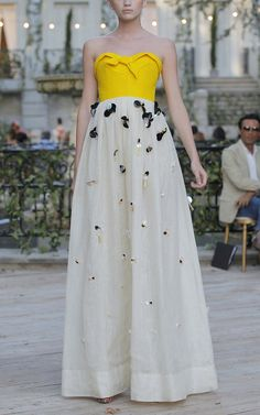 Love = Delpozo Combination Strapless Linen Gown