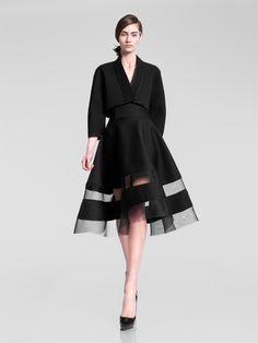 Donna Karan Pre-Fall 2013  Japanese-influenced bolero, circle skirt with sheer stripes.