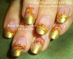 Gold with Flowers Nail Art
