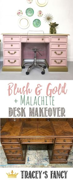 Blush and Gold + Green Malachite Desk Makeover Tracey's Fancy   Mineral Print   Pink & Gold Desk   Desk Top ideas   Decorating with Malachite   Mineral Art   Painted Furniture Ideas   Painted Desk Ideas #furniture #furnituremakeover#gold #decor