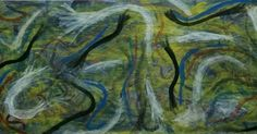 """""""Spirited""""  by Charles Peter Watson,  30"""" X 61"""",  acrylic paint on wood Donated to the Creative Corner, West Hempstead"""