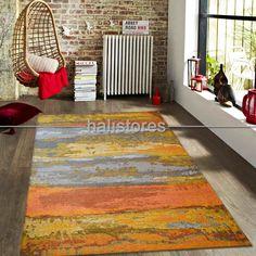 Modern Desenli Renkli Baskılı Halı SM 12 Turuncu