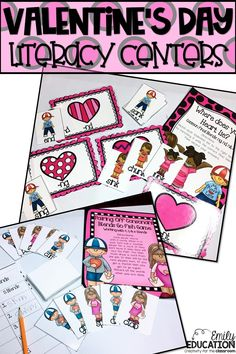 Literacy Center Games for Valentine's Day!! Adorable Center games to get students engaged. Includes five games. One for each of the following: sequencing, abbreviations, cause and effect, common final blends, and consonant blends.