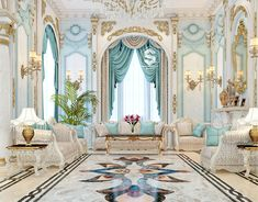 """My design of a classic sitting area in a palace , I hope you like it."" (More: Classic Majles , Summer Fouad - ArtStation) Mansion Interior, Luxury Homes Interior, Luxury Home Decor, Home Interior Design, French Mansion, Fantasy Bedroom, Fantasy House, Luxury Homes Dream Houses, Dream Home Design"