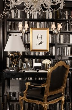A Ralph Lauren Home black and white study finds allure in gold touches from the…