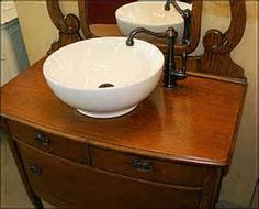 turning a dresser into a bathroom vanity sink on top - - Yahoo Image Search Results