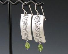 Silver Zen Peridot Earrings Pebble Path by annewalkerjewelry