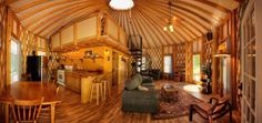 Wide Open Space - Yurt enthusiasts favor the design of these tent-like homes because of the large, open feeling of the interior space and the possibilities they offer in terms of decoration and social activities. This model from Blue Ridge Yurts is a good example of a yurt that is ideal for a family vacation or summer home.