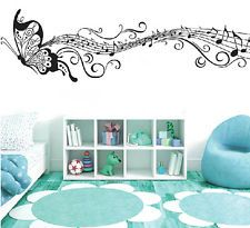 Music Note Butterfly Removable Wall Art Sticker Vinyl DIY Room Home Mural Decor