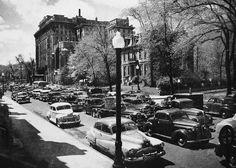 Montréal 1950-55. Rue Sherbrooke, depuis Redpath >Ouest. by DubyDub2009, via Flickr
