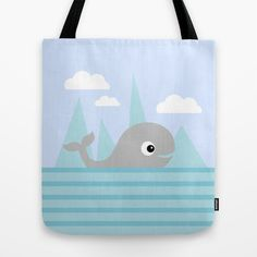 Cute whale tote bag in blue and gray on society6