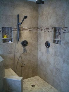 55+ Bathroom Remodel Ideas Wall and ceiling faucets. Cutouts for supplies. Bench.