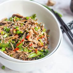 Super simple shiitake mushrooms and sugar snap pea vegan soba noodle stir fry. Gluten-Free and ready in 30 minutes. Perfect healthy Asian themed dinner.