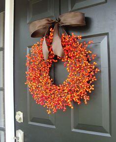 Orange Pumpkin Berry Wreath- Fall Wreath- Pumpkin Wreath- Fall Decor- Thanksgiving Wreath