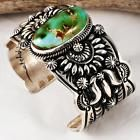 A Darryl Becenti Navajo Natural  Royston Turquoise Bracelet Sterling Silver .a