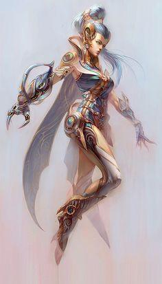 Character Design by Yu Cheng Hong---technique, style, habillement, couleur, plan, position corps et flottement, arrière-plan clair-broillard