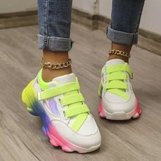 Womens Casual Breathable Thick Bottom Sneakers Ladies Sport Trainers Platform Running Shoes Big Size 43 Sneaker Outfits Women, Sports Trainers, Chunky Sneakers, Sneaker Brands, Types Of Shoes, Running Shoes, Lace Up, Platform, Clothes For Women