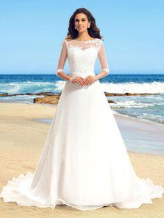Long White wedding dress,Half Sleeves wedding dress,Simple Scoop wedding dress,Cheap Wedding dress , WD17189