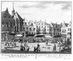 De Groenmarkt met links de Vleeshal, in het midden het Goudse Hooft en rechts de Hoogstraat Daniel Marot; 1697