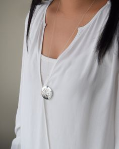 Large Locket Necklace by Olive Yew in silver, gold or rose gold. This is extra long with a 26 inch chain.
