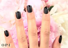 The Matte French using Black Onyx and OPI Matte Top Coat. #OPIMatteTC