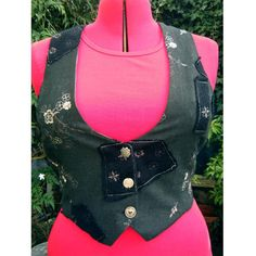 Ladies waistcoat cropped fitted fully lined vest by dashAmbler, $49.95, i'd go for less of a print