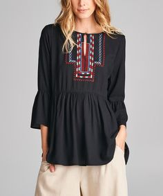 Love, Kuza Black Embroidered Bell-Sleeve Peasant Top | zulily