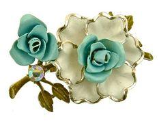 Vtg Enamel Flower Brooch Pin White Blue Enamel AB Rhinestone Silvertone | eBay