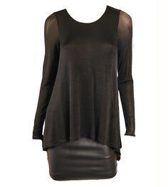 Lavender Brown Black Mesh and Vinyl Dress