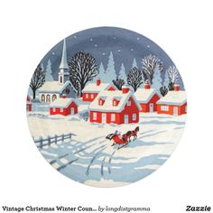 Shop Vintage Christmas Winter Country Village Snow Paper Plate created by longdistgramma. Holiday Cards, Christmas Cards, Christmas Paper Plates, Party Tableware, White Elephant Gifts, Biodegradable Products, Vintage Shops, Vintage Christmas, Party Time
