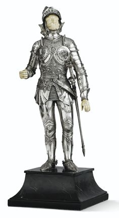 A SILVER AND IVORY LARGE FIGURE OF A MEDIEVAL KNIGHT, PROBABLY GERMANY, 19TH CENTURY
