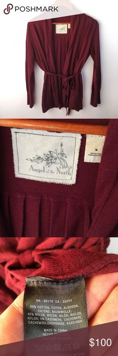 Anthropologie burgundy cardigan Tie front pleated cardigan. Rich burgundy color. Cotton blend. Very lovely! Anthropologie Sweaters Cardigans