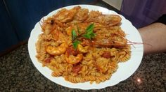 Gluten free pasta with shrimps