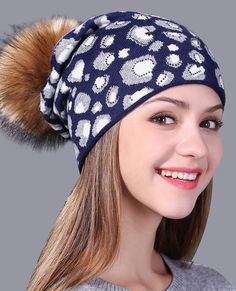 Leopard print knitted hat