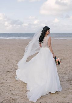 Louise and Gary celebrated their marriage with a Norfolk beach wedding, with the bride wearing Mori Lee and the couple choosing romantic navy and coral. Wedding Day Tips, Wedding Couple Photos, Beach Wedding Photos, Wedding Ideas, Wedding Planning, Beach Wedding Hair, Beach Wedding Favors, Dream Wedding, Fancy Wedding Dresses
