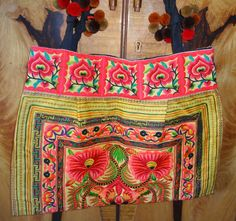 Large Embriodered Ethnic Tote Bag  Handmade Tote with by uDazzle